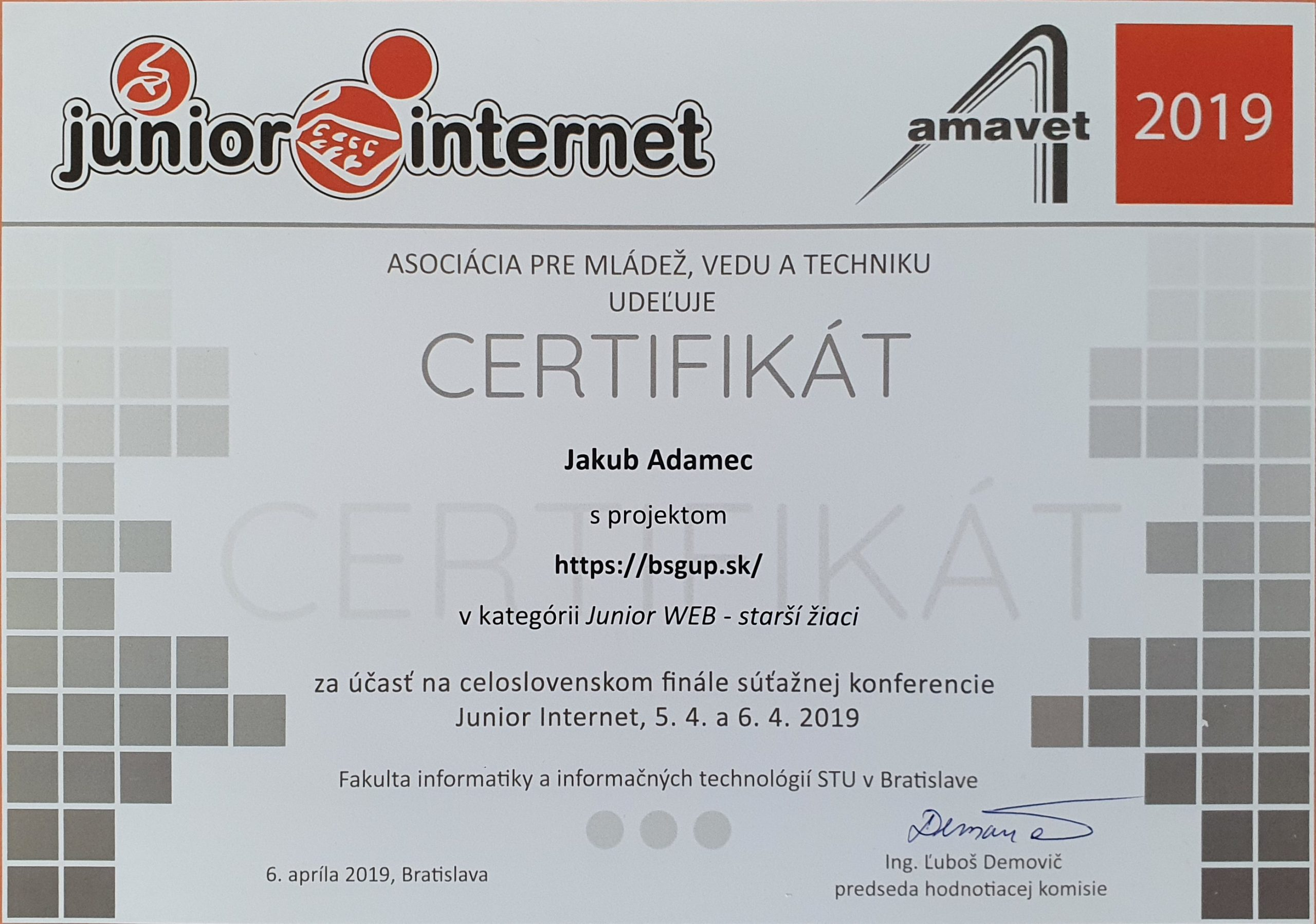 Certifikát Junior Internet 2019