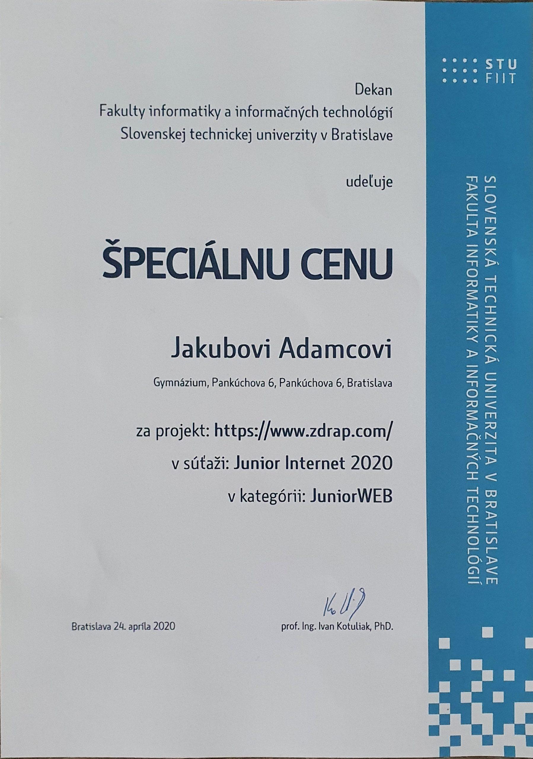 Dekan FIIT STU v Bratislave udeľuje Špeciálnu cenu