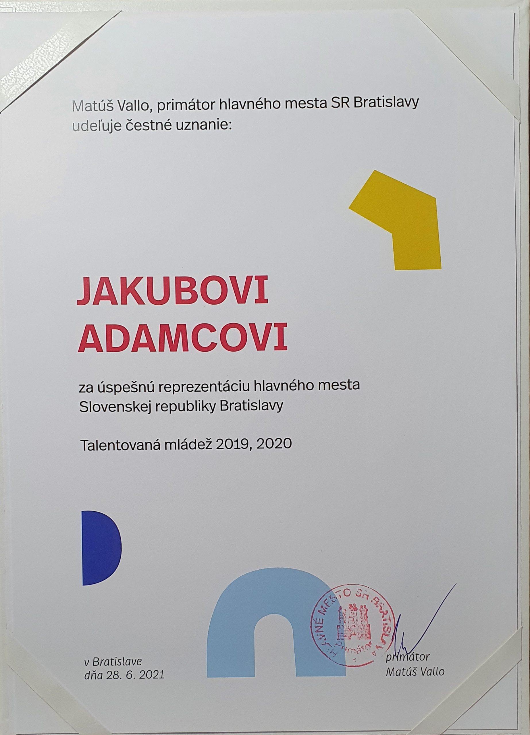 Čestné uznanie primátora hlavného mesta SR Bratislavy, Matúša Valla